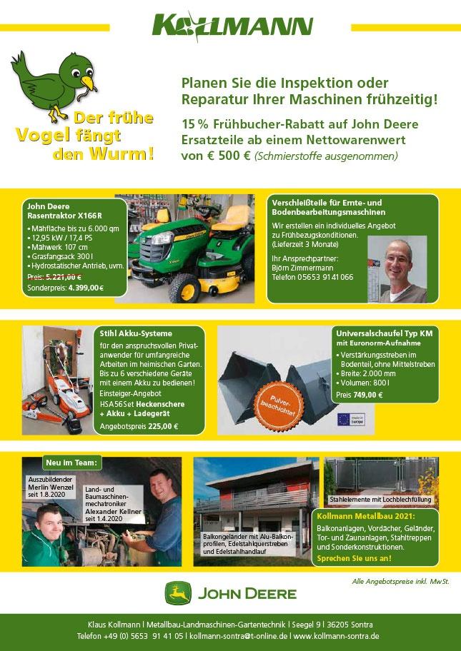 Das Kollmann-Infoblatt zum Jahreswechsel mit Angeboten